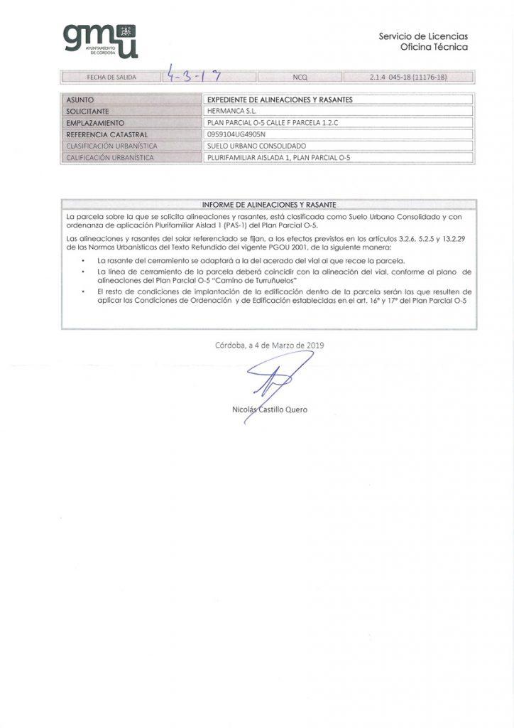 Informe Alineaciones y Rasante - Construcciones Mancebo