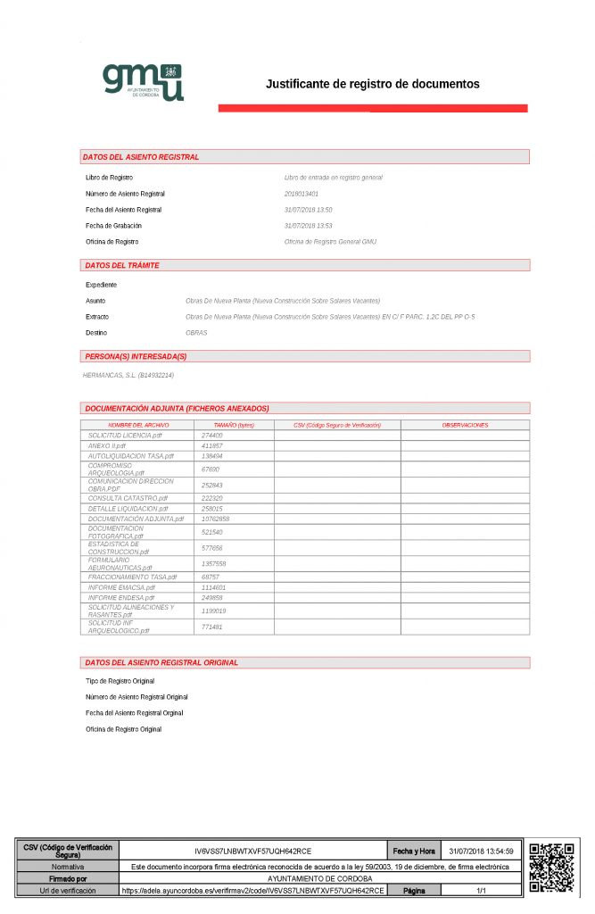 Se solicita Licencia de obras - Construcciones Mancebo