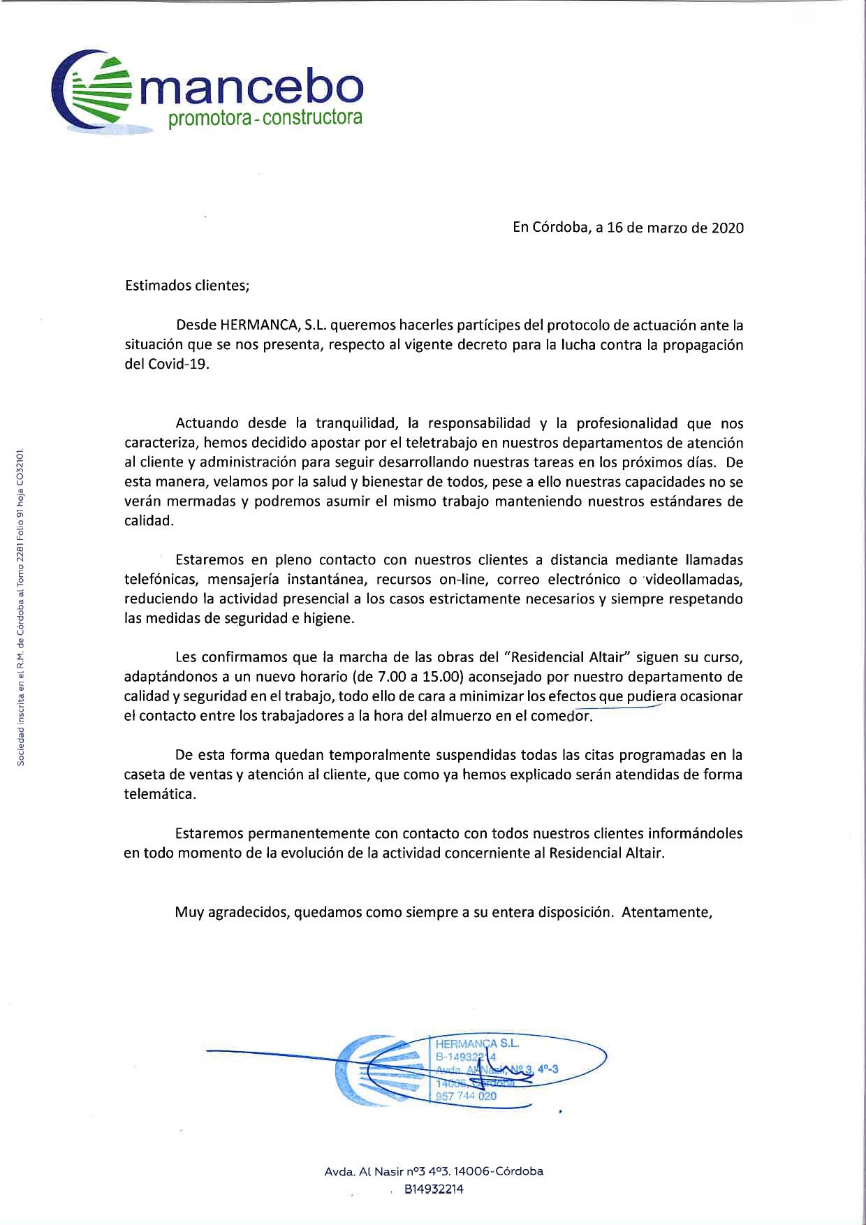 Protocolo de actuación Covid-19 - Construcciones Mancebo
